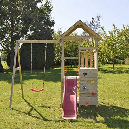 Wendi Toys Spielturm Gorilla Stelzenhaus Kletterturm inkl. Rutsche, Schaukel & Kletterwand