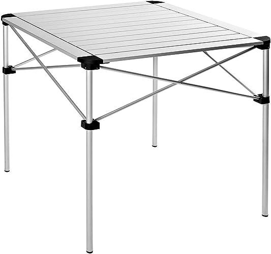 ANFAY Pliable Table de Camping Poids léger Pliant Portable Bureau de Pique-Nique Roll-Top Alliage d'aluminium avec Sac de Transport Argent