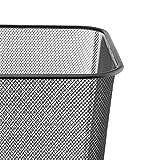 D.RECT Papierkorb aus Drahtgeflecht | Abfalleimer | Drahteimer | Büro Mülleimer | Papiereimer, Büroeimer Mesh eckig 18L schwarz - 3