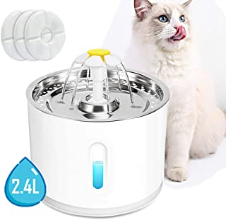 pulaishi LED Light Pet Fountain Cat and Dog Water Fountain Stainless Steel Top Pet and Cat Water Dispenser Ultra Quiet Water Level Window Water Replaceable Filter Drinking for Cat Water Fountain