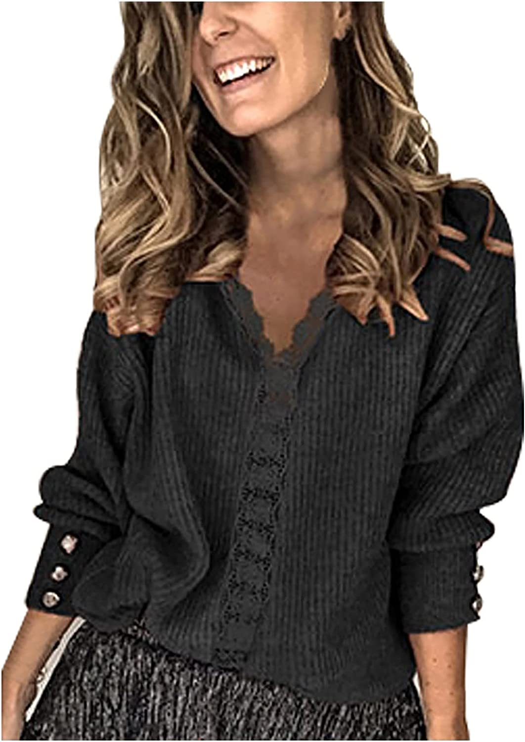 Fees free!! black cardigan Lace Stitching Sales of SALE items from new works Top Long-sleeved V-neck Buttoned