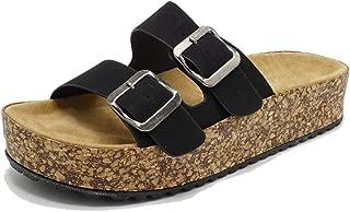 Women's Platform Slip on Sandal 2-Strap Adjustable Buckle Cork Casual Slides Shoes