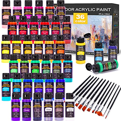Outdoor Acrylic Paint Set, 36 Colors (2 oz/Bottle) with 12 Art Brushes, Art Supplies for Painting Canvas, Rock, Wood, Ceramic & Fabric, Rich Pigments Lasting Quality for Beginners, Students & Professional Artist