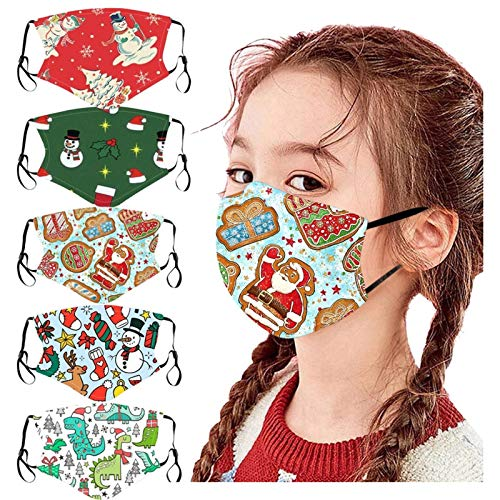 Kids Face_Masks,5PC Pack Cute Cartoon Print Childrens Christmas Face_Masks Reusable Washable for Kids Outdoor Back to School Supplies