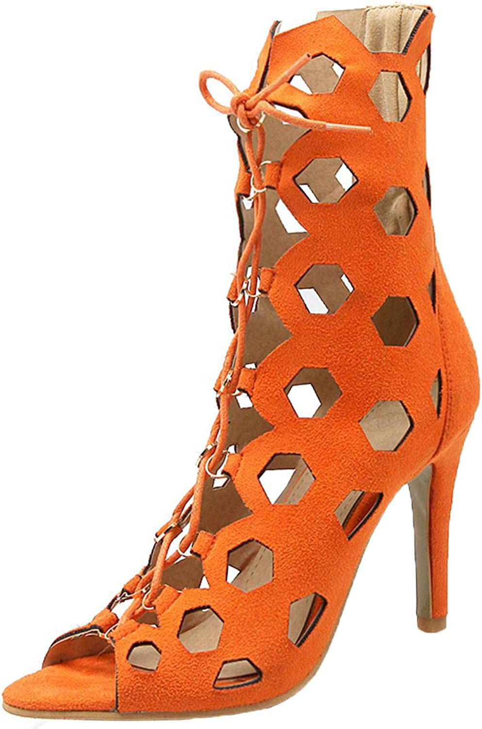 Vitalo Womens Caged Lace Up Peep Toe Sandals Gladiator Cutout Summer shoes
