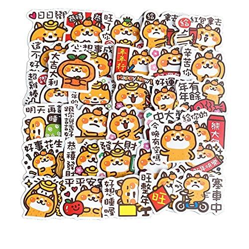 XIAMU Año Nuevo Texto Deseos Serie Buena Suerte Manual Etiqueta Pack Teléfono Móvil Caja Decoración Cuaderno Material Impermeable Pegatinas 32 Hojas