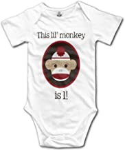 onlyou Red and Brown Sock Monkey First Birthday Kids Girls Cute Baby Onesies Outfits