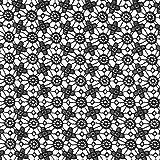 Fabulous Fabrics Spitze schwarz, Blume, 120cm breit –
