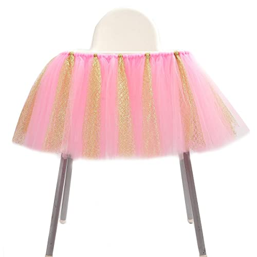 WESTLINK 1st Birthday Tutu Skirt for High Chair Decoration for Party Supplies Baby Pink