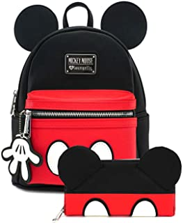 Loungefly Disney Mickey Mouse Mini Backpack and Wallet Set (Black/Red)