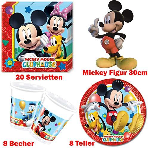 Party-Teufel® Disney Mickey Mouse Micki Maus Geschirr-Set Tischgeschirr 37 teilig Set Servietten Teller Becher Figur für Kinder Geburtstag Partygeschirr 8 Personen