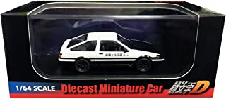 Toyota Sprinter Trueno (AE86) White with Black Bottom and Carbon Hood Initial D (2016) Movie 1/64 Diecast Model Car by Kyosho K07057A5