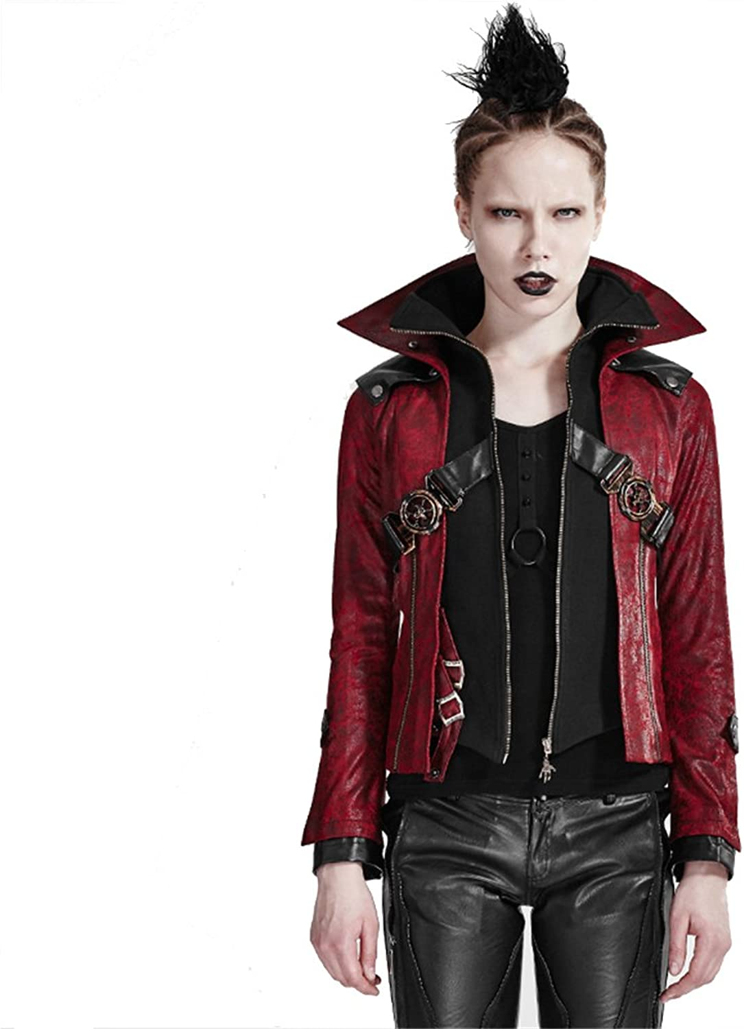 PUNK Gothic Steampunk Leather Jacket Coat Stand Collar Red Ladies Short Motocycle Jackets Outwear