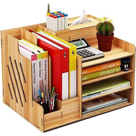 Organiseur de bureau en bois, grande capacité de stockage - Idéal pour les fournitures de bureau, le rangement de fichers et de documents Cerisier