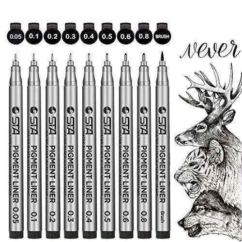 Fineliner Stifte Set,GXR 9 StückSchwarz Pigmentliner Set zum Zeichnen Schreiben Skizzen,Journaling,Notizen,Comics,Malbuch