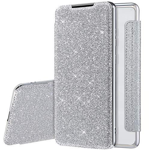 Coque pour Samsung Galaxy A21S Cuir PU Housse à Rabat Portefeuille Étui de Bumper Folio à Clapet pour Galaxy A21S Paillette Strass Brillante Glitter Etui Flip Case Wallet Coque de protection, Argent