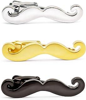 HONEY BEAR 3pcs Set Mens Boys Moustache Beard Tie Clip Bar for Wedding Gift