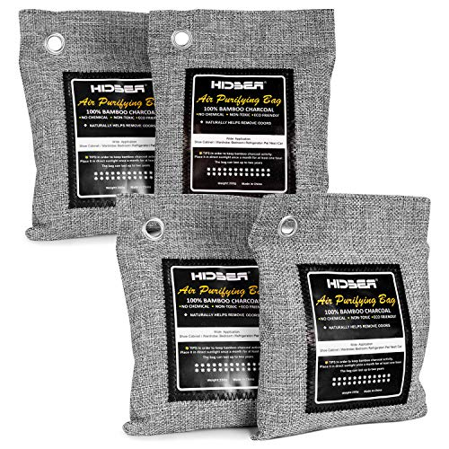 HIDBEA Bamboo Air Purifying Bags (4-Pack) Activated Charcoal Deodorizer Odor Absorber Eliminator Remover for Home, Pets, Car, Closet, Shoes, 200g x 4, Gray