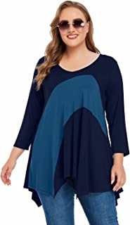 JollieLovin V Neck Tunic Shirts for Plus Size Women 3/4 Sleeve Color Block Tops Casual Asymmetrical Tee