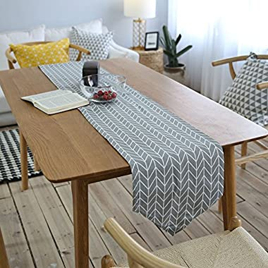MeMoreCool Table Flag/Runner Geometry Pattern Cotton 12 X 79 Inch Arrow Grey