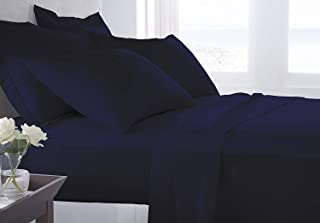 Bed Alter 1000 Thread Count 6 Piece Bed Sheet Set (1 Flat Sheet 1 Fitted Sheet and 4 Pillowcases) (15 deep Pocket) 100% Egyptian Cotton Luxurious Bedsheets Solid. (Navy Blue, Queen)