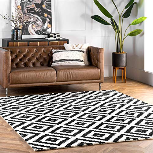 nuLOOM Kellee Contemporary Wool Area Rug, 5' x 8', Black