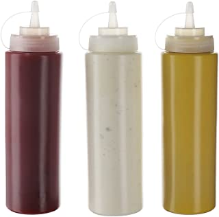 (Pack de 3) Botellas de Plastico Grandes 590 ml con Tapas de Rosca – Dispensadores Rellenables para Ketchup Mostaza Vinagre Salsas Aceite– Set de Botes Transparentes Sin BPA a Granel Para Cocina