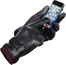 King Star PU Leather Touchscreen Texting Driving Winter Warm Gloves For Men