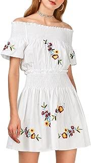 Women's Smocked Off Shoulder Short Sleeves Floral Embroidered Mini Dress