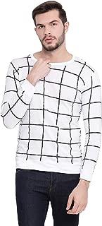 VIMAL JONNEY Cotton White Checkered Full Sleeve Tshirt for Men
