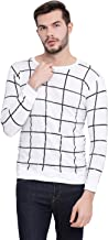 VIMAL JONNEY Cotton White Checkered Full Sleeve Tshirt for Men