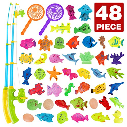 Fishing Bath Toy 48 Piece Magnetic Fishing Floating Toy,Water Scoop Fish Net Game in Bathtub Bathroom Pool Bath Time,Learning Education Toys for Boys Girls Toddlers Party Favors