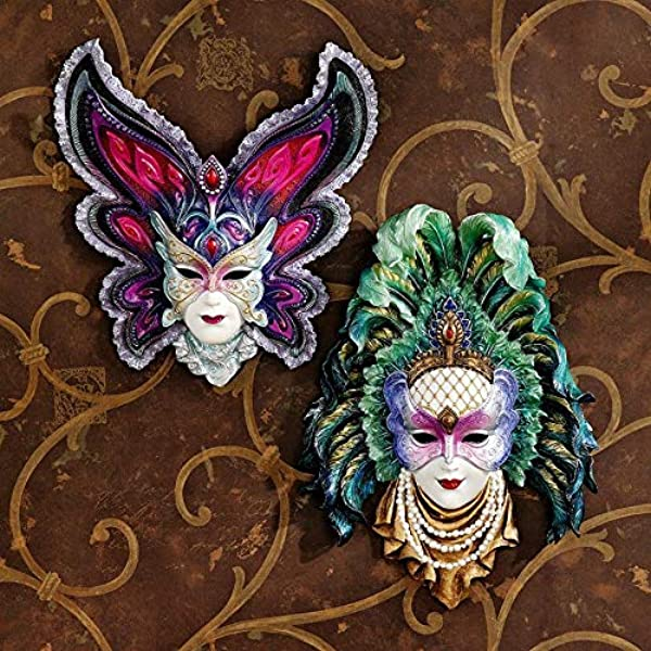 Design Toscano Inc Maidens Of Mardi Gras Wall Mask Sculptures Butterfly Maid