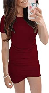 c84802bce59b5b BTFBM Women's 2019 Casual Crew Neck Ruched Stretchy Bodycon T Shirt Short  Mini Dress