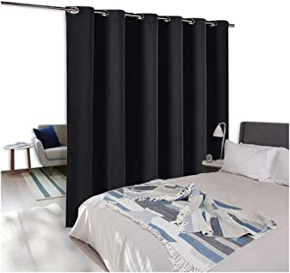 NICETOWN Room Divider Curtain Screen Partitions, Hide Clutter Separate Functions Grommet Top Portable Room Divider Screen Curtain Panel for Bedroom (1 Piece, 8ft Tall x 10ft Wide,Black)