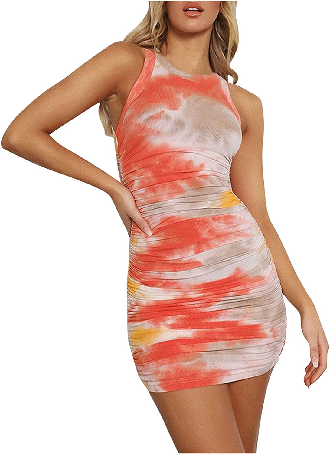 Maryia Women's Tie Dye Dresses Summer 2021 Casual Sleeveless Ruched Soft Comfy Crew Neck Elegant Bodycon Sundress