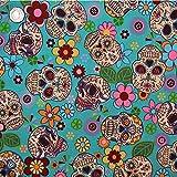 Retro Mexiko Stil Floral & Skulls türkis–1Meter
