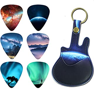 Guitar Picks - LIZIMANDU 12 Medium Gauge Celluloid Guitar Picks In Guitar Shaped Picks Holder. Unique Guitar Gift For Bass, Electric & Acoustic Guitars(Natural scenery)