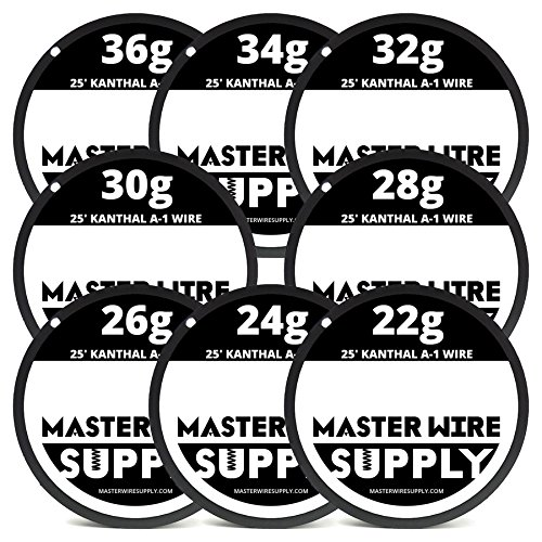 Kanthal A1 Wire Sample Pack 25' Each 22,24,26,28,30,32,34,36 Gauge