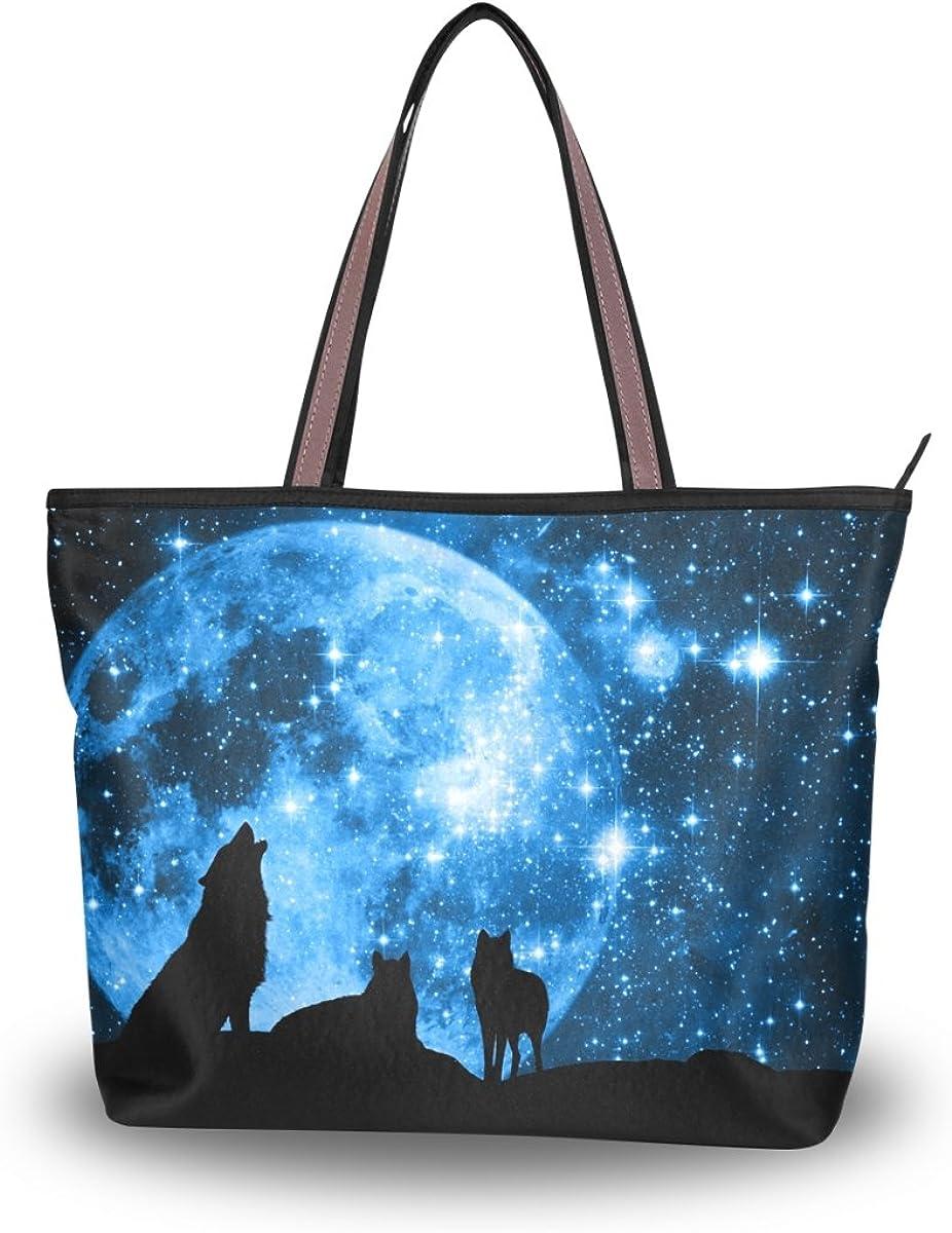 JSTEL Women Large Tote Top Handle Shoulder Bags Wolf Forest Tree Night Moon Nebula Universe Galaxy Patern Ladies Handbag L