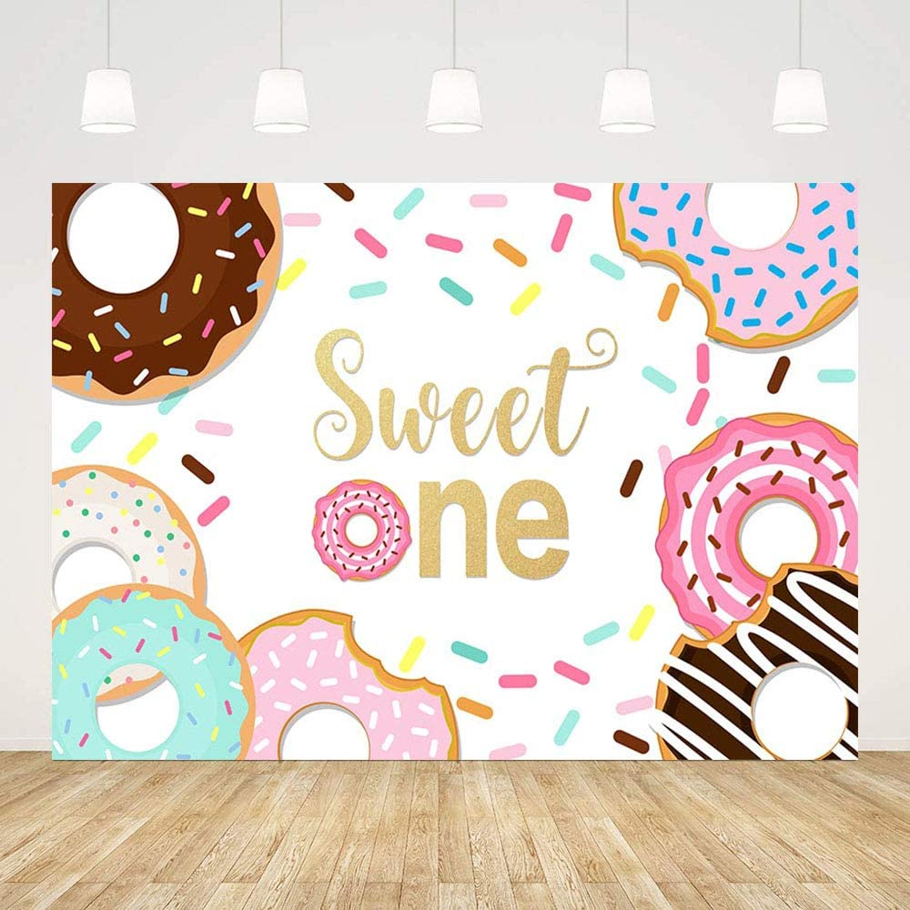 MEHOFOND Sweet One Donut Theme Girl 1st Birthday Party Decoration Backdrop Happy Birthday Colourful Photography Background Photo Studio Props Vinyl Backdrop Banner for Cake Table Supplies 7x5ft