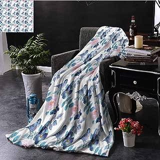 Animal Pink Throw Blanket Spring Sparrow Birds Sofa Camping Reading Car Travel W84 xL70