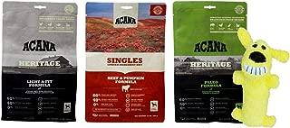 ACANA Dry Dog Food Kibble 3 Flavor Sampler with Squeaker Toy Bundle, 1 Each: Light & Fit, Singles Beef Pumpkin, Heritage Paleo (12 Ounces)