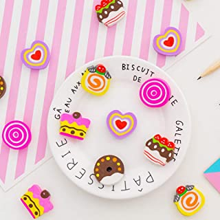 Color Plastic Pencil Eraser Eraser - Love Donut Cake Box Eraser Eraser Set (Random 24 Pack) 3Cm