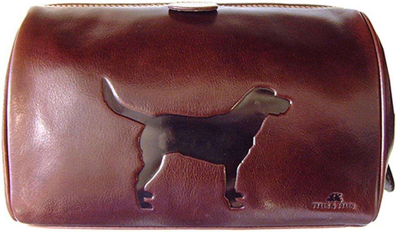 Dunkelbraun Italienisch ausblenden Leder Labrador Wash Bag von Tyler and Tyler B00JE66JEC