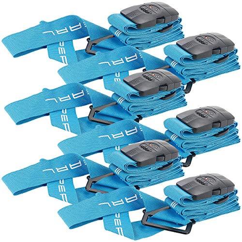 PEARL Koffergurt einstellbar: 6er-Set Kreuz-Koffergurte m. TSA-zertifiziertem Zahlenschloss, 5x400cm (Koffergurt mit Namensschild)