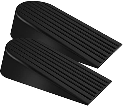 Big Door Stopper 2 Packs Heavy Duty Wedge Rubber Door Stop Works on All Floor Surfaces Height up to 1.9 Inches Non-Sc...
