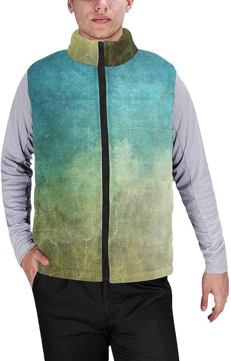 InterestPrint Men's Winter Full-Zip Outwear Padded Vest Coats Sharks Catoon Characters