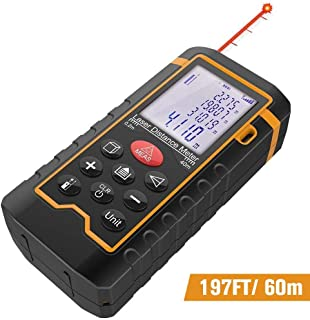 DBPOWER Digital Laser Measure 197FT/ 60M, Laser Distance Meter with Backlit LCD Screen,..