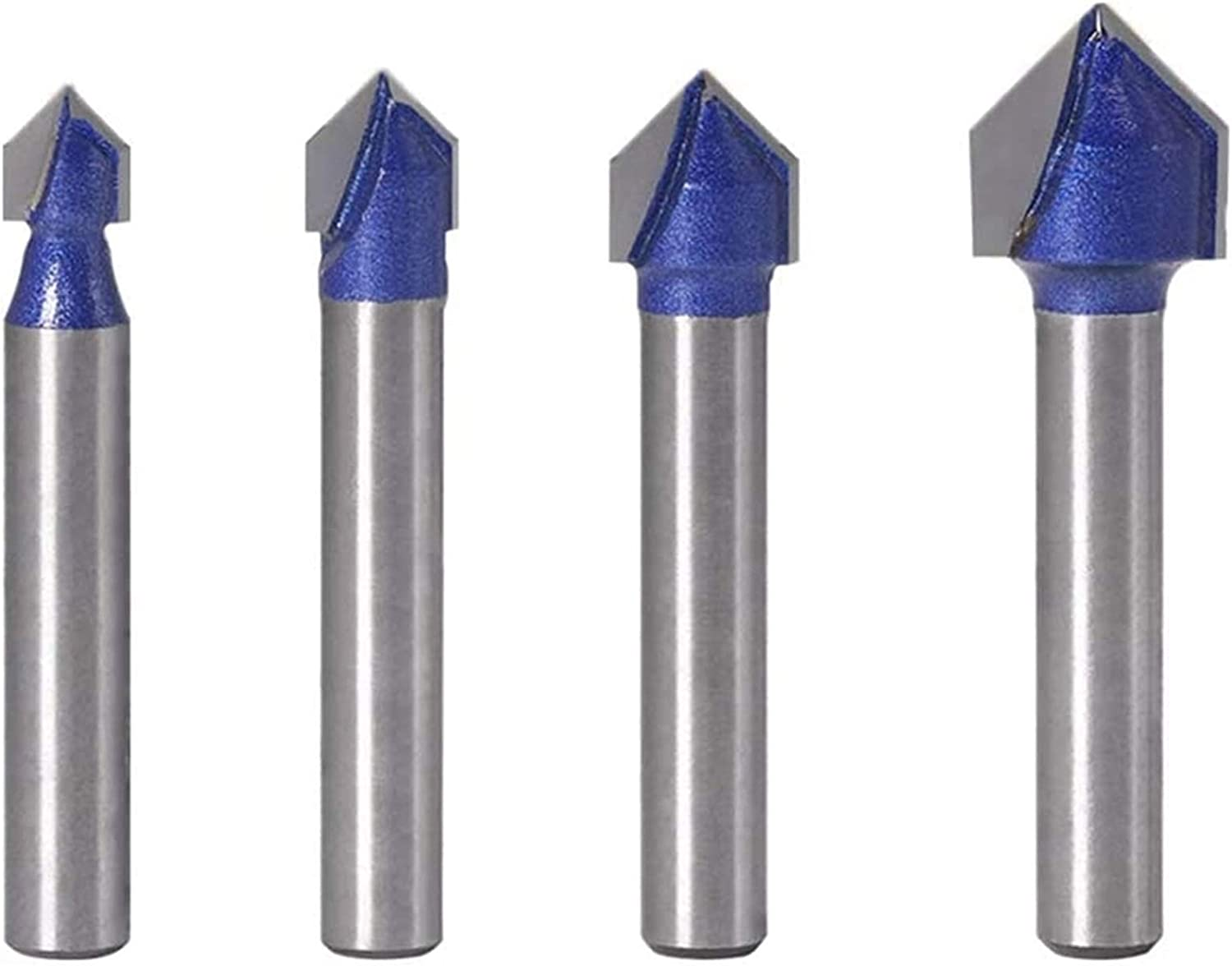 YIFENGHUI Hot 4Pcs Direct stock discount 1 4 Inch Shank Groove Router Bit Degree V Max 53% OFF 90
